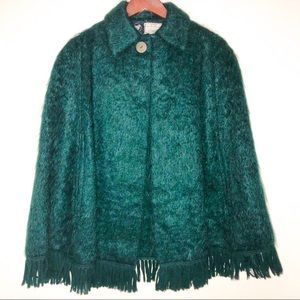Vintage Mohair & Wool Emerald Green Fringed Cape